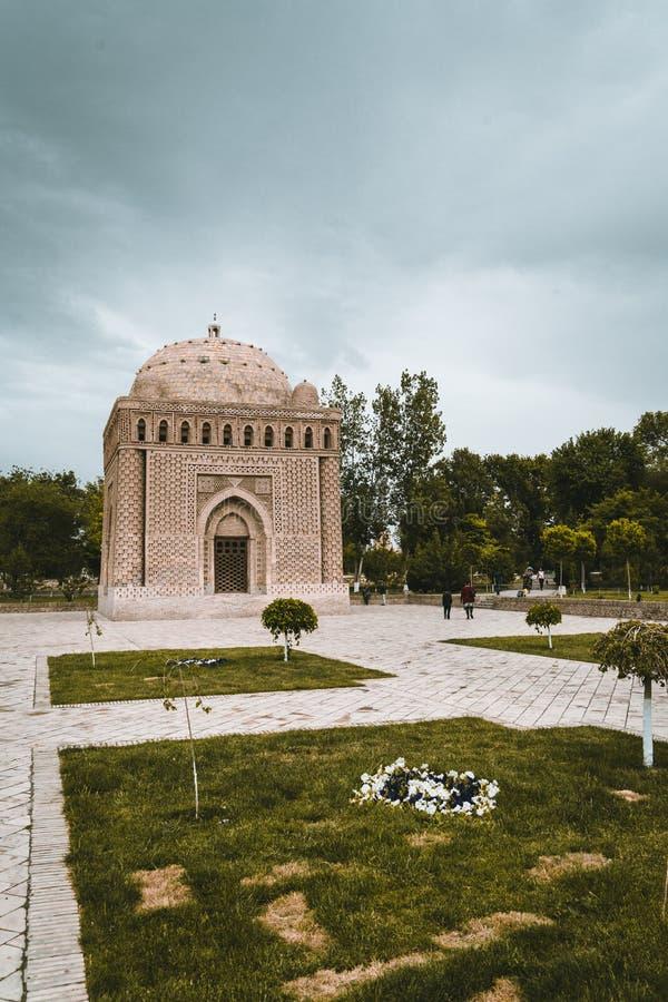 有树的Samanid陵墓和天空在布哈拉,乌兹别克斯坦 免版税图库摄影