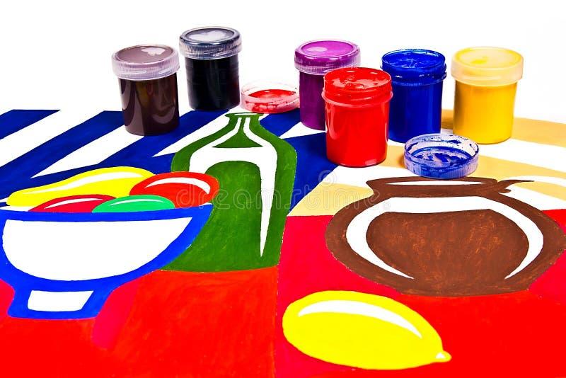 有树胶水彩画颜料油漆的瓶艺术性的绘画的 库存图片