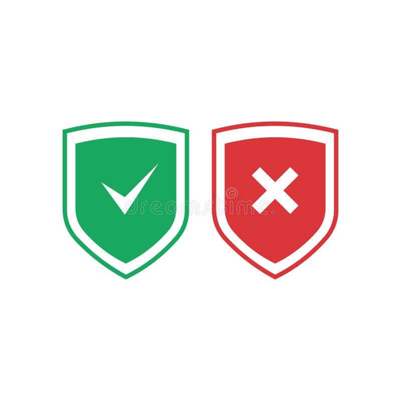 有校验标志和发怒象集合的盾 有检查号和x标记的红色和绿色盾 保护,安全,安全, 库存例证