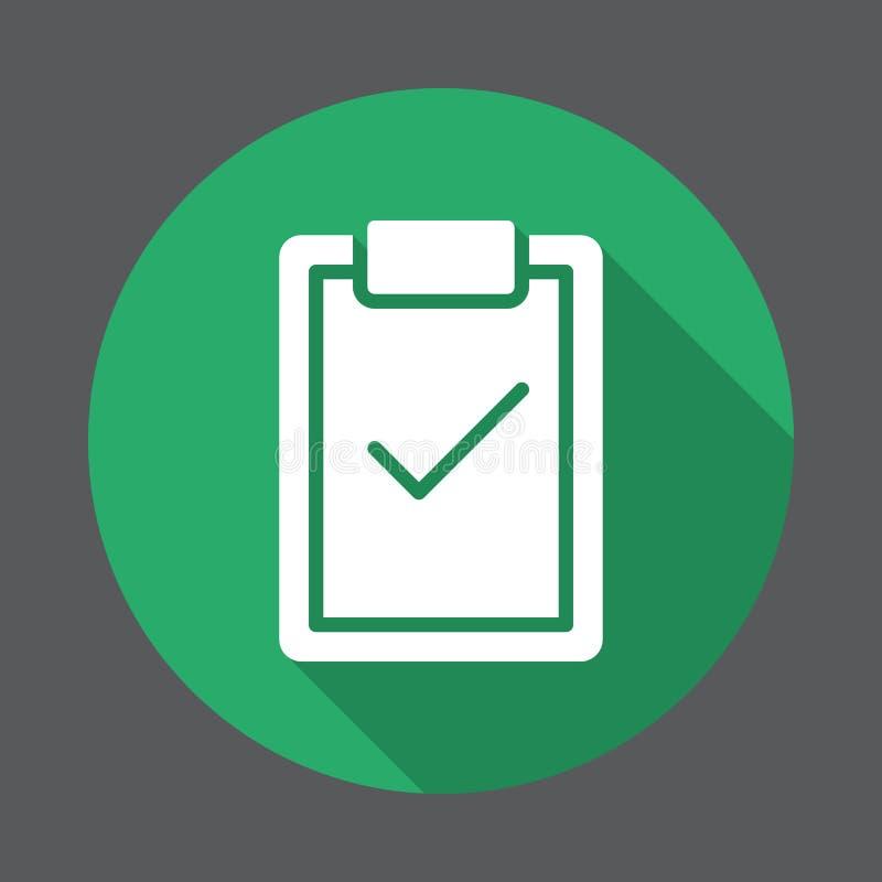 有校验标志平的象的剪贴板 圆的五颜六色的按钮,与长的屏蔽效应的圆传染媒介标志 库存例证
