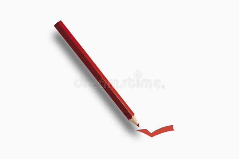 有校验标志的红色铅笔 图库摄影