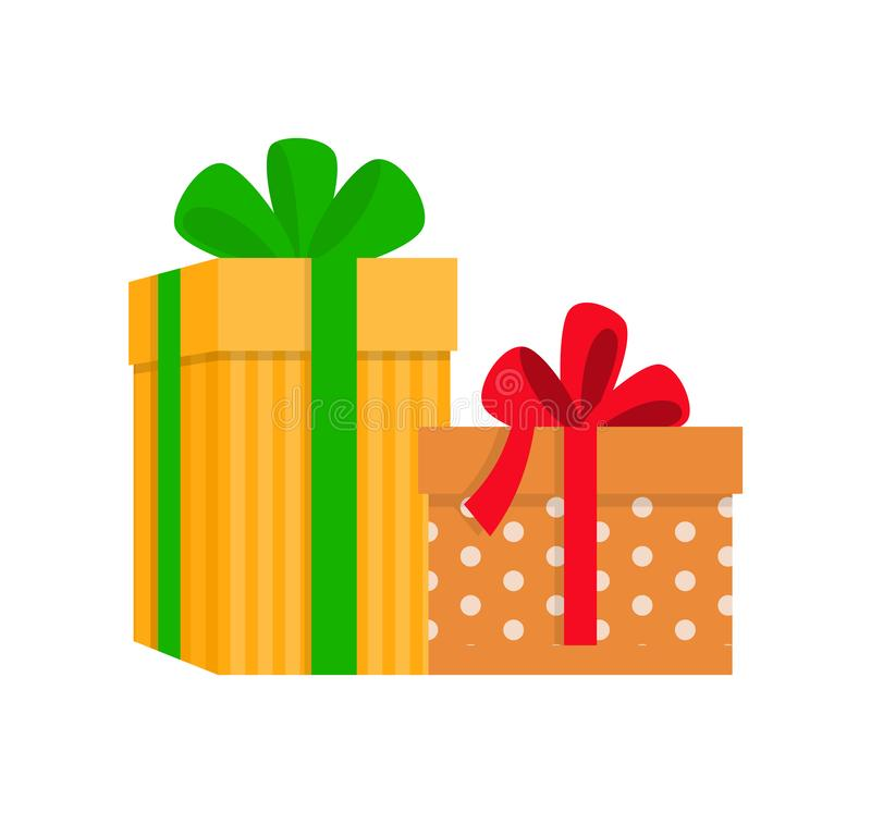 有样式和弓花的礼物盒导航 库存例证