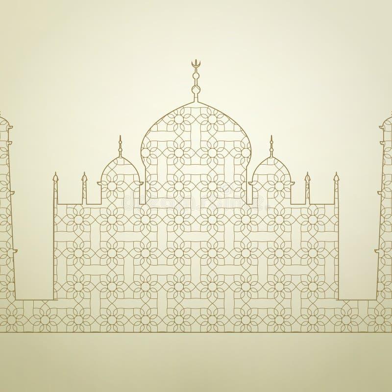 有样式的古老回教清真寺 向量例证