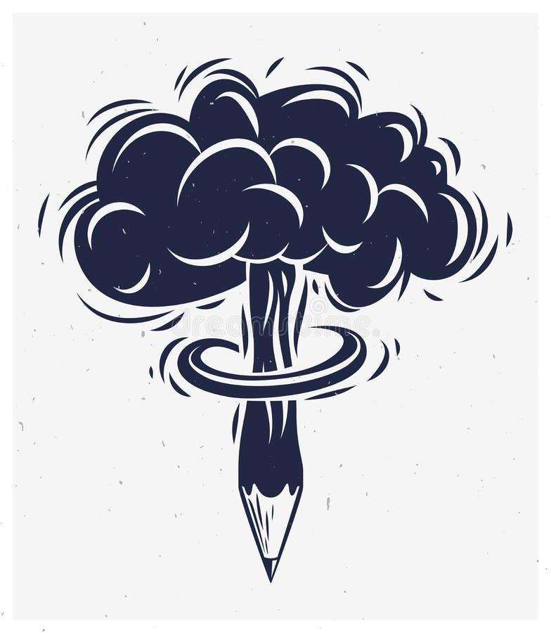 有核爆炸蘑菇形状的铅笔,创造性的爆炸或能量概念,爆炸的创造性,传染媒介概念性商标 库存例证
