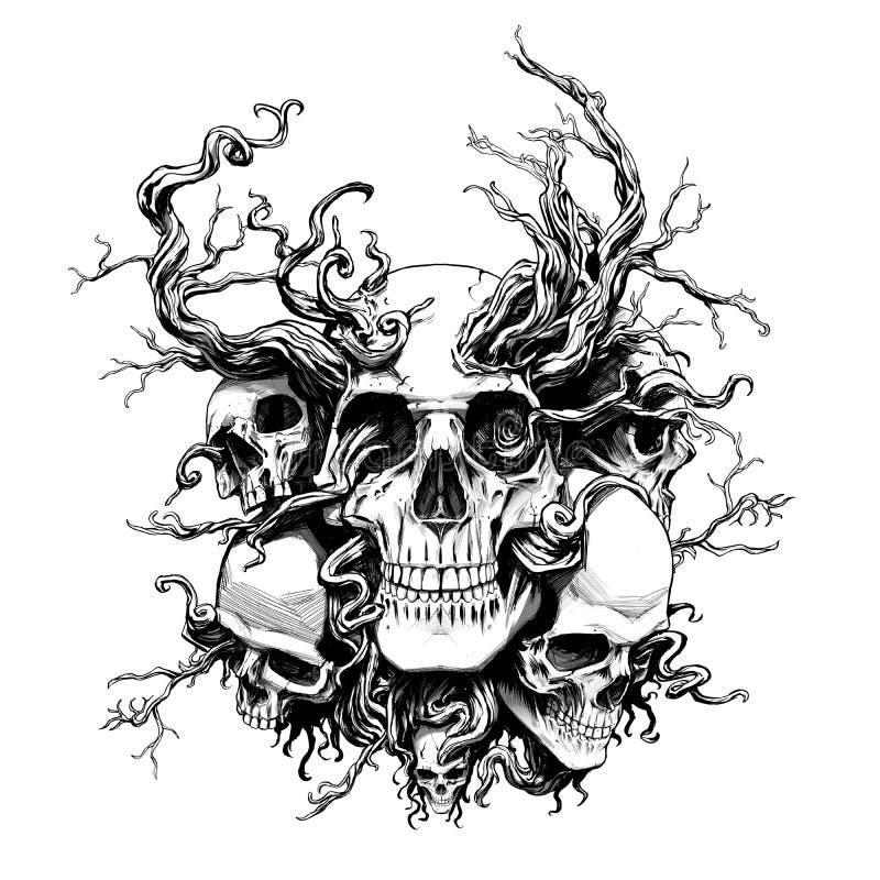 有根的不可思议的头骨 库存例证