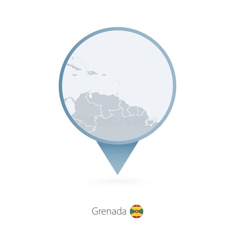 有格林纳达和邻国详细的地图的地图别针  向量例证