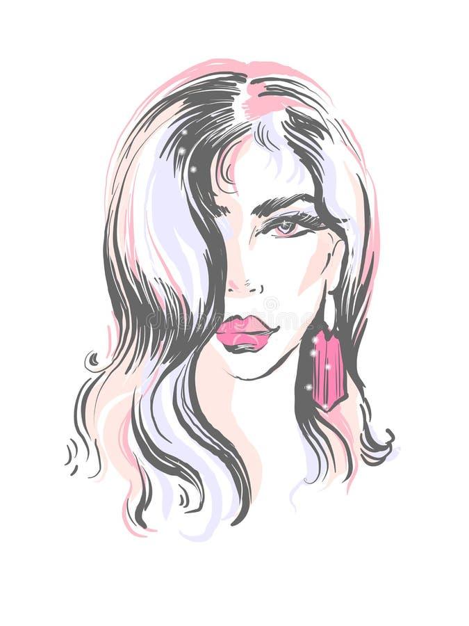 有桃红色嘴唇和耳环发型象时尚例证的美女 库存例证