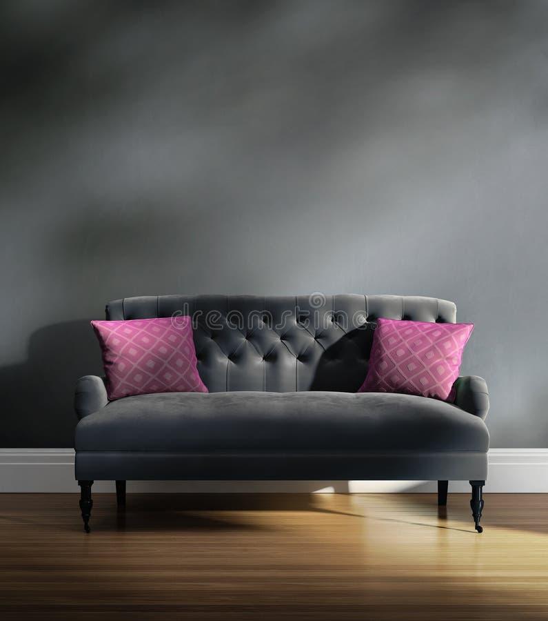 有桃红色坐垫的当代典雅的豪华灰色天鹅绒沙发 向量例证