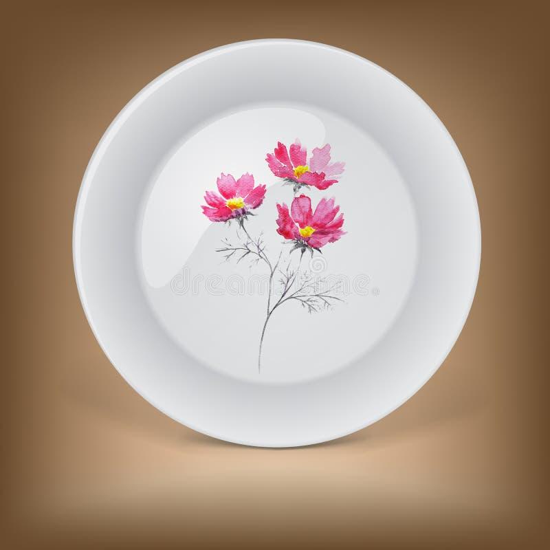 有桃红色夏天花束的装饰板材  皇族释放例证