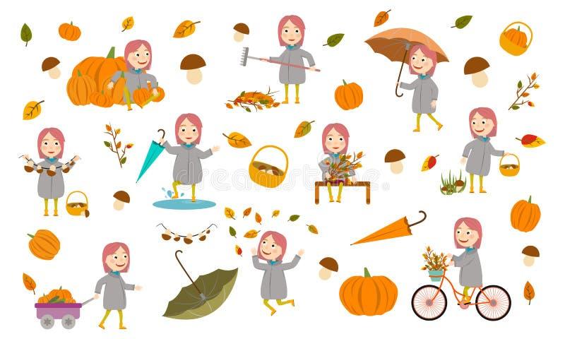 有桃红色头发女孩的集合时尚女孩秋天夹克的使用与叶子,使纸小船下水,骑自行车,运载pumpki 库存例证