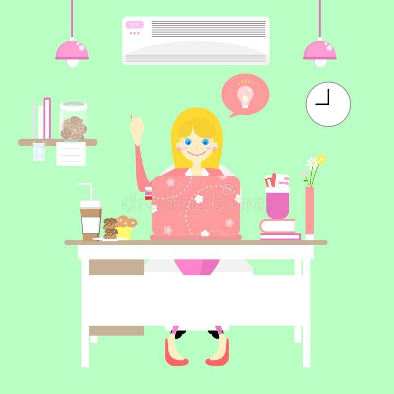 有桃红色室内设计的愉快的办公室工作者妇女在绿色背景中 库存例证
