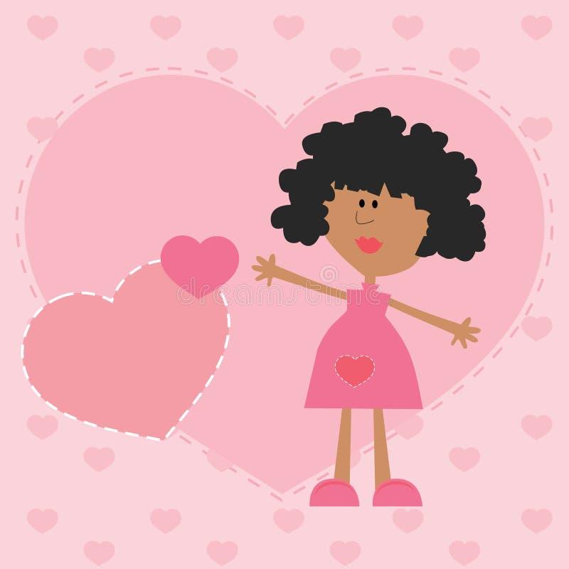 有桃红色心脏爱表示的女孩 库存图片