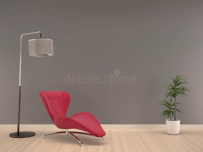 有桃红色扶手椅子的灰色墙壁在木地板居住室内部 免版税图库摄影