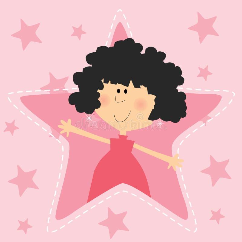 有桃红色星爱表示的女孩 免版税库存照片
