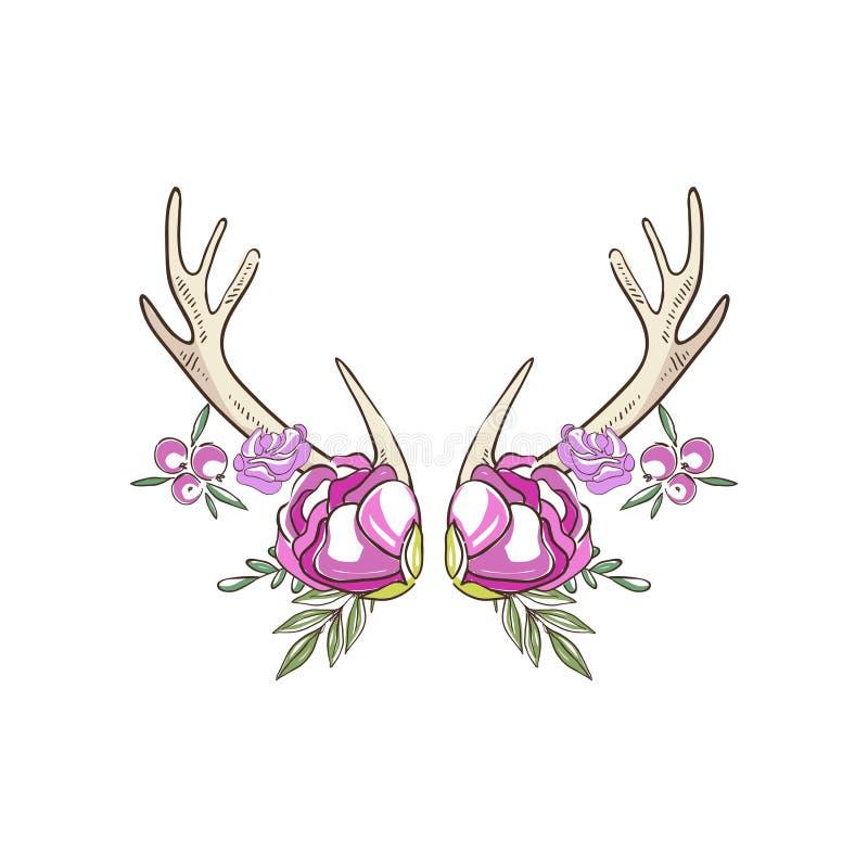 有桃红色玫瑰和莓果的鹿角,与鹿垫铁的手拉的花卉构成导航在白色的例证 库存例证