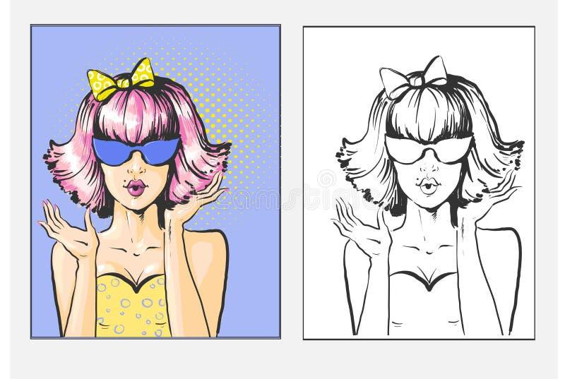 有桃红色突然移动的妇女,弓和sunglases惊奇流行艺术减速火箭的漫画样式例证传染媒介 库存例证