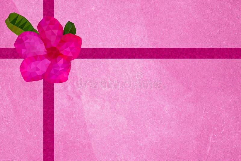 有桃红色花的老难看的东西桃红色纸礼物盒 库存例证