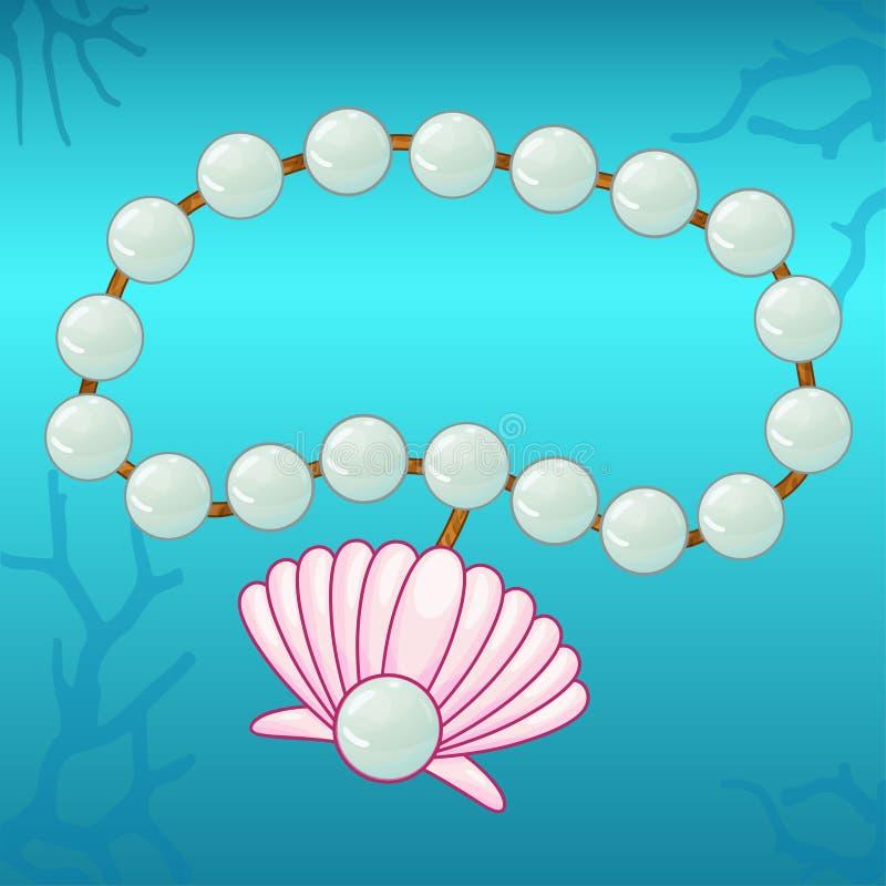 有桃红色贝壳的珍珠镯子 皇族释放例证