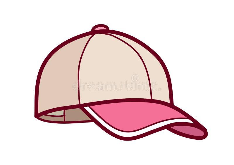 有桃红色遮阳简单的象动画片例证的棒球帽是 向量例证