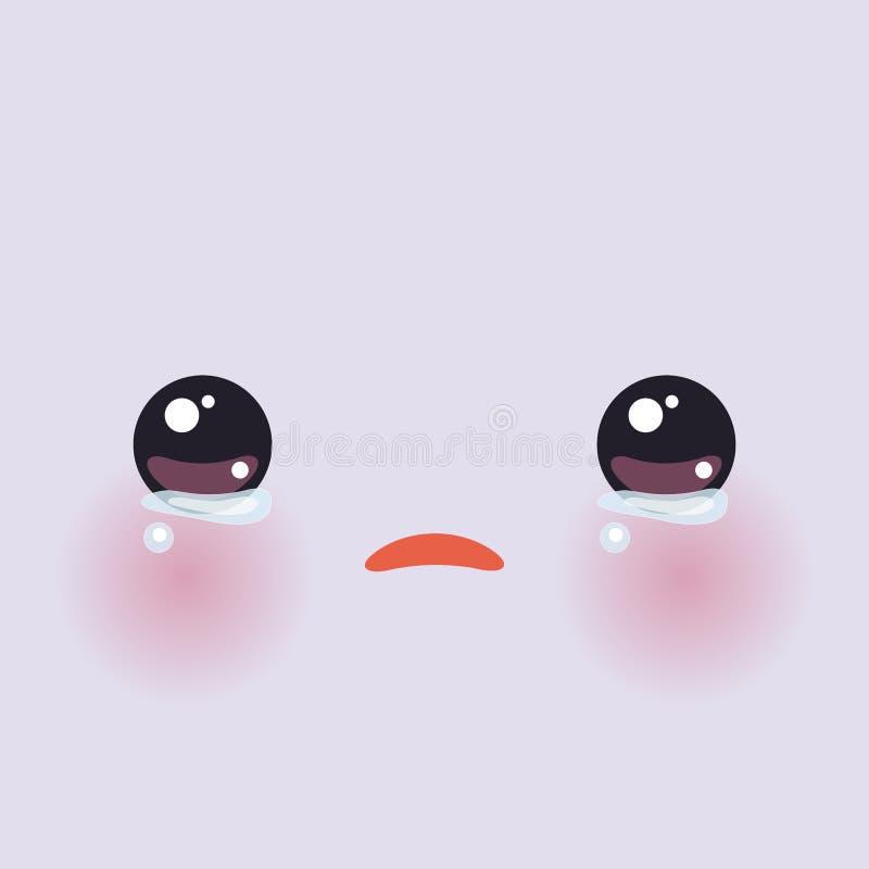 有桃红色面颊的Kawaii滑稽的枪口和大在淡紫色背景的眼睛逗人喜爱的动画片哭泣的面孔 向量 库存例证