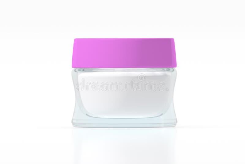 有桃红色颜色塑料盒盖3D翻译的清楚的玻璃瓶子 皇族释放例证