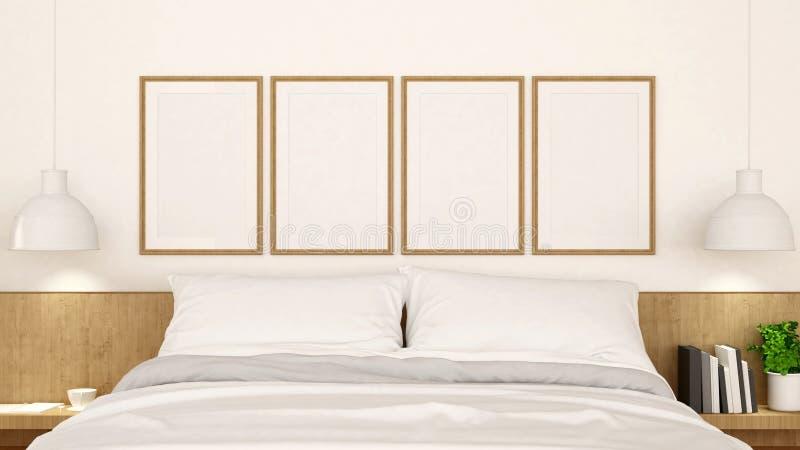 有框架干净的设计的- 3d白色卧室翻译 库存例证