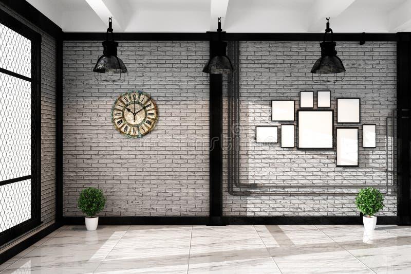 有框架灯和plnts的,空的白色砖墙现代顶楼客厅-花岗岩地板,嘲笑内部 3d?? 库存例证