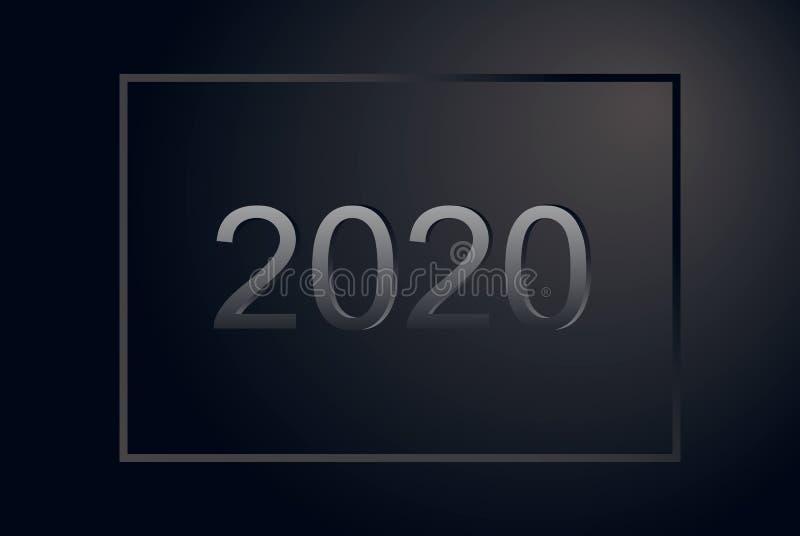 有框架的贺卡新年快乐2020年 优质银色样式水平的海报 黑表面无光泽的公司横幅,假日 库存例证