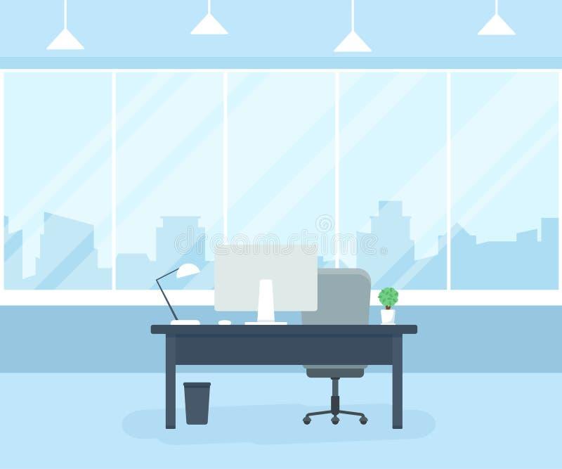 有桌、计算机、窗口和灯的办公室工作场所 Coworking办公室 平的传染媒介例证 库存例证