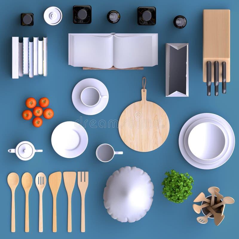 有桌和厨具的烙记的假装厨房 在颜色背景的空白的模板家的,餐馆,咖啡馆 皇族释放例证
