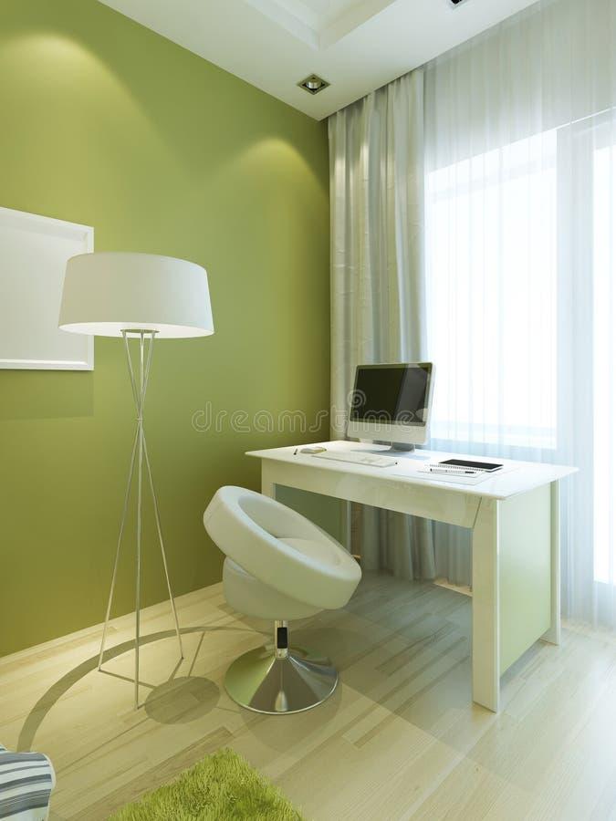 有桌的工作场所和在现代风格的一把椅子 向量例证