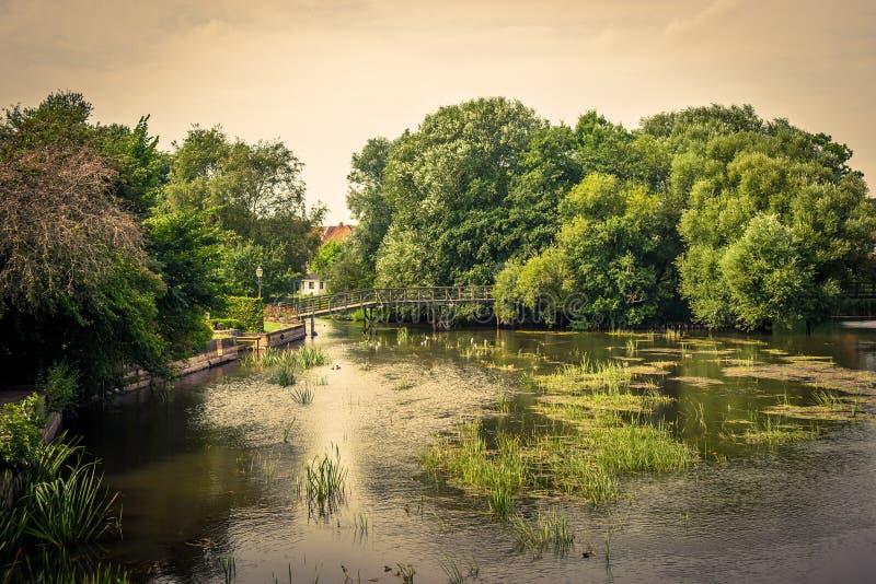 有桥梁的田园诗湖 图库摄影