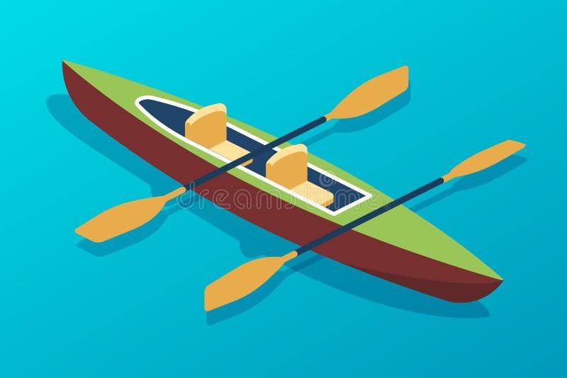 有桨的木小船独木舟 河漂流,海假日 皇族释放例证