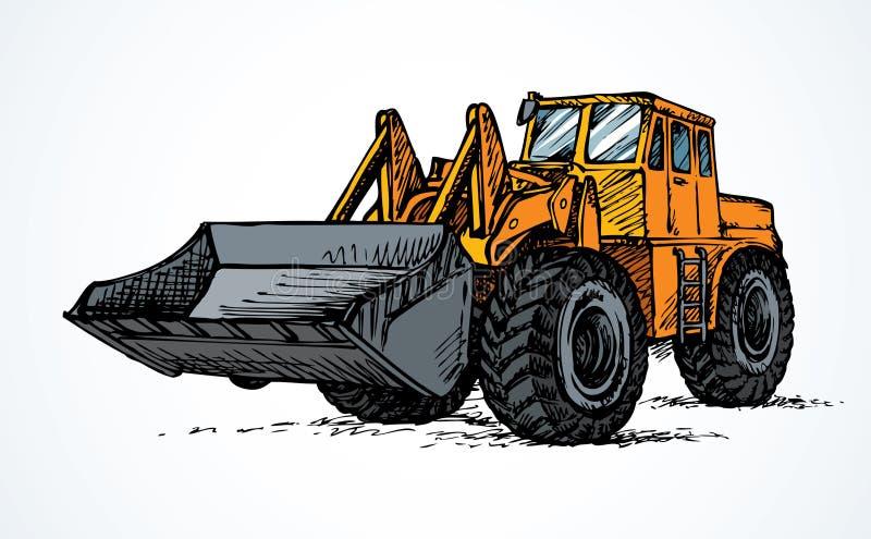 有桶的拖拉机 得出花卉草向量的背景 库存例证