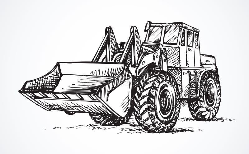 有桶的拖拉机 得出花卉草向量的背景 皇族释放例证