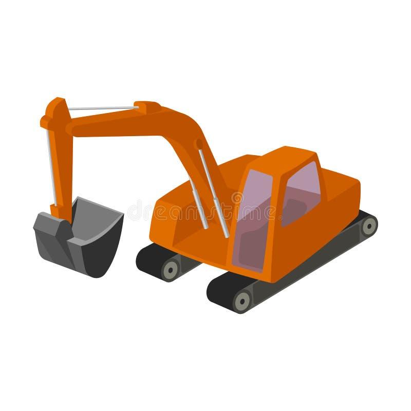有桶的橙色挖掘机 我的机器 开采产业唯一象在动画片样式传染媒介标志库存 库存例证