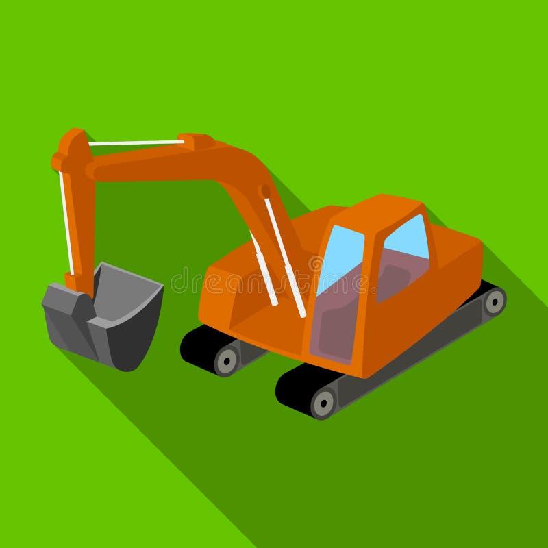 有桶的橙色挖掘机 我的机器 开采产业唯一象在平的样式传染媒介标志库存 向量例证