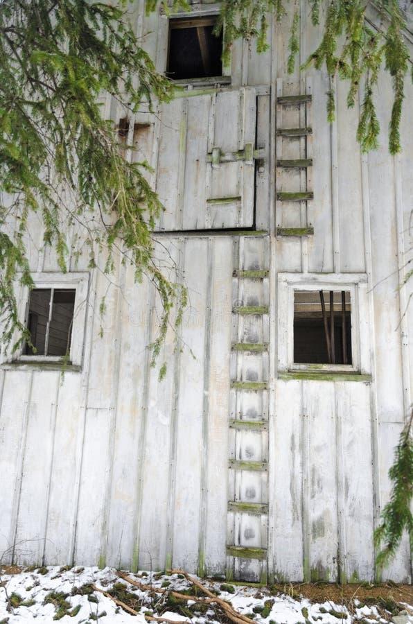 有梯子和窗口的被放弃的谷仓外墙 免版税库存照片