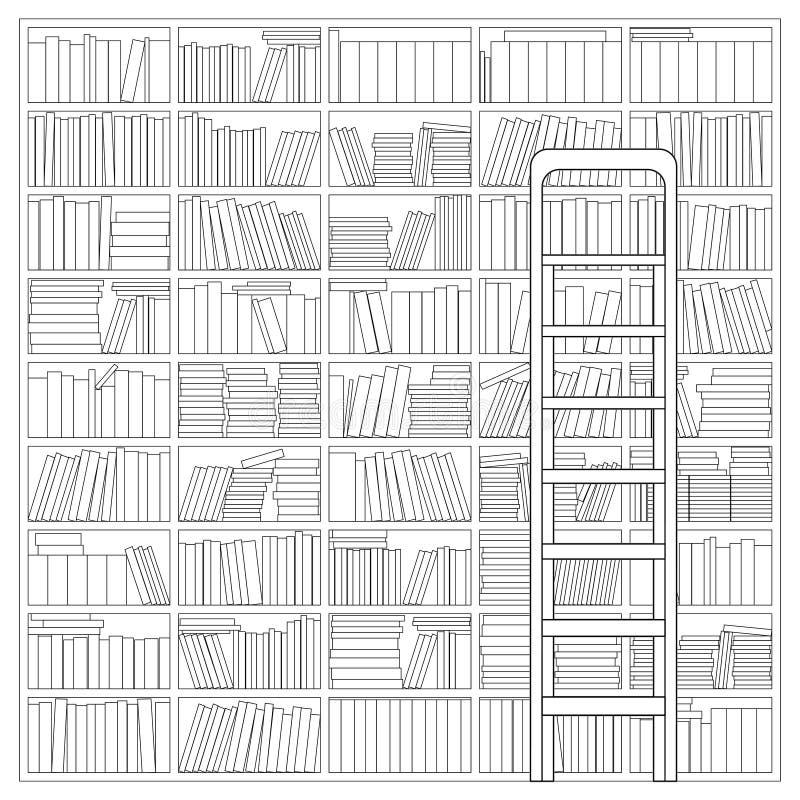 有梯子的书架 库存例证