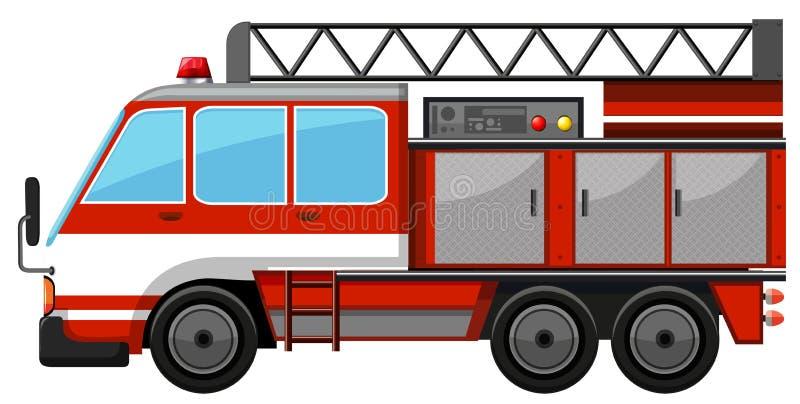 有梯子的消防车 库存例证