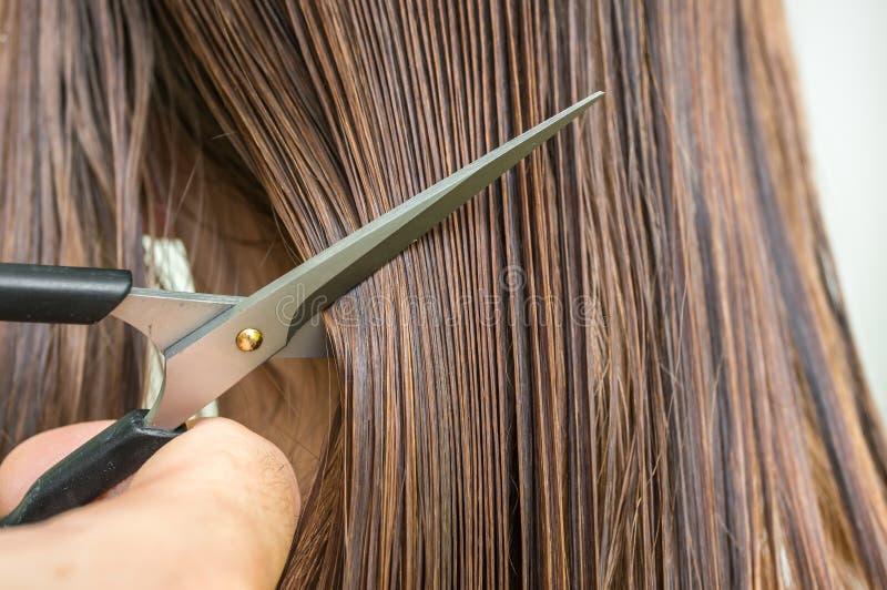 有梳子和剪刀的-护发概念平直的湿头发 库存照片