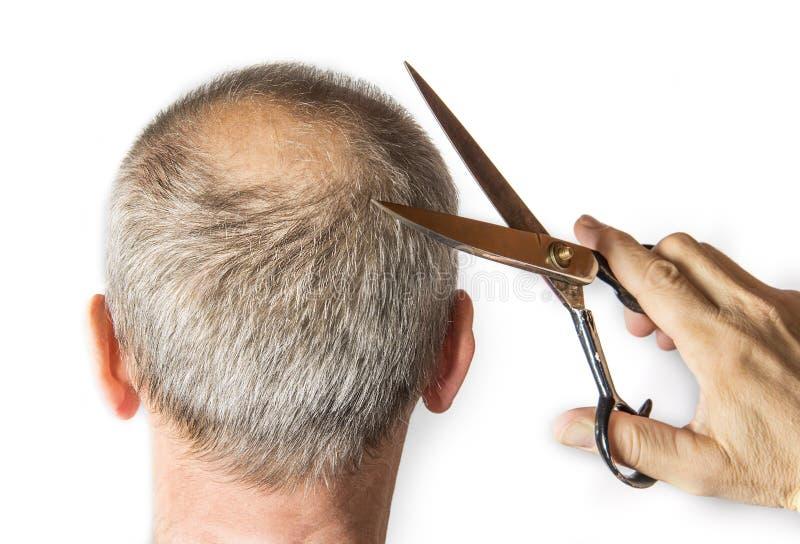 有梳子的秃头人 掉头发概念 免版税库存照片