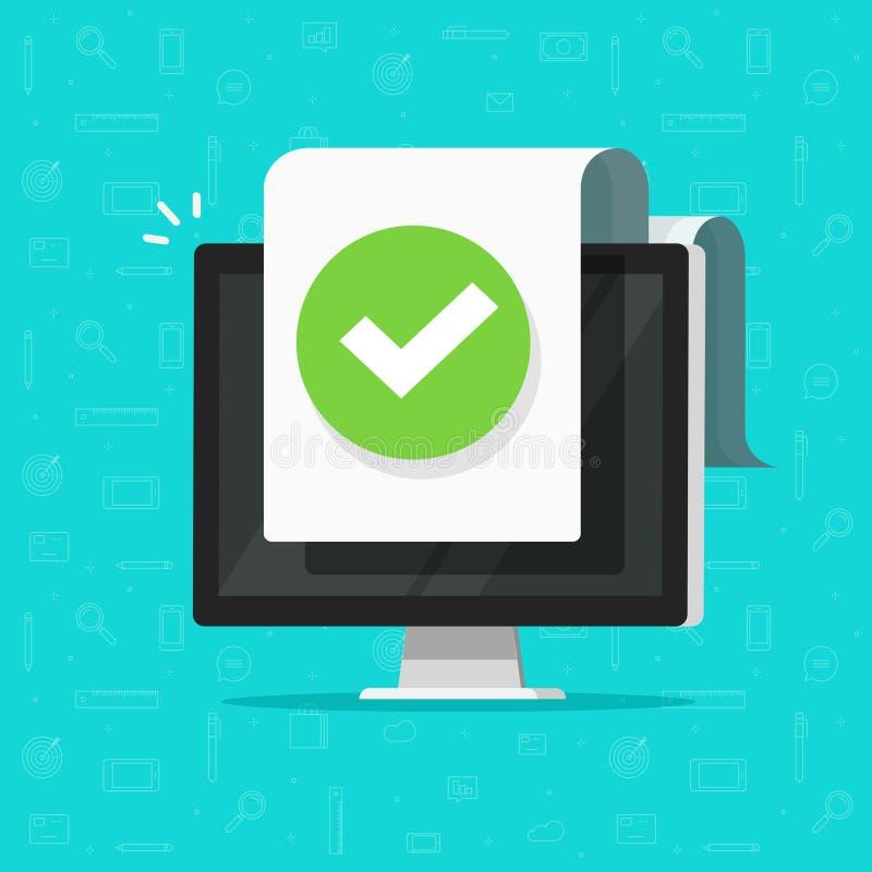 有检查号或壁虱通知的计算机在文件传染媒介象,有批准的doc纸板料的,想法平的设计个人计算机 向量例证