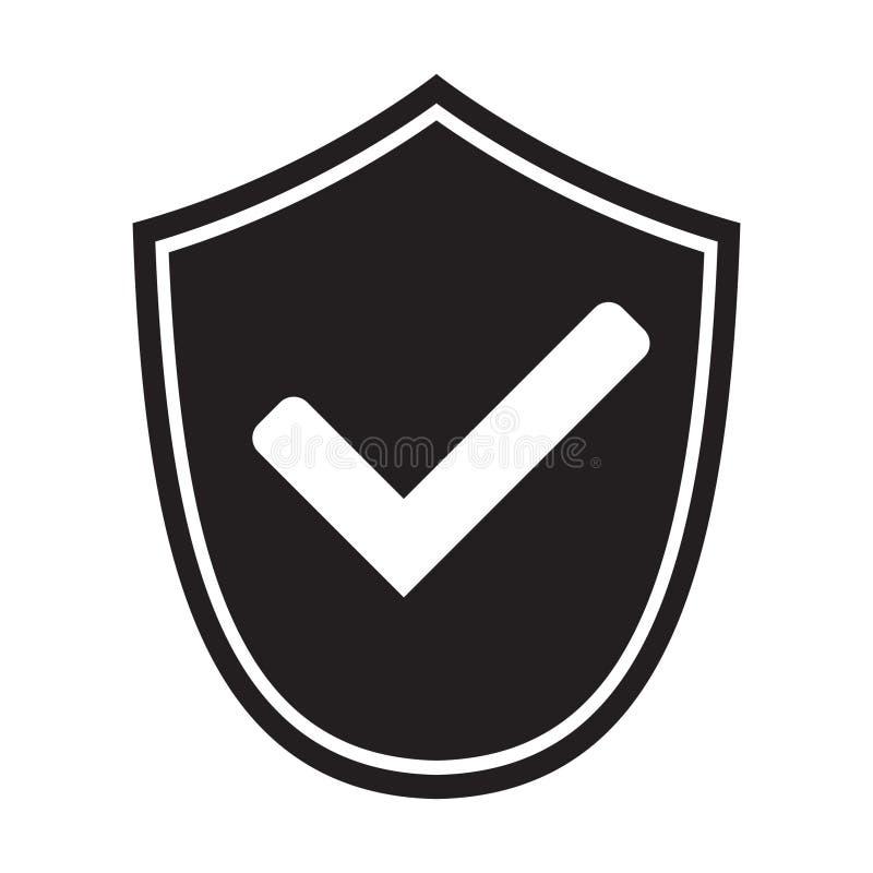 有检查号标志的盾下载的 壁虱盾安全象 E 库存例证