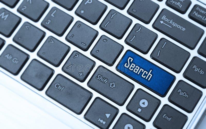 有检索关键字的键盘 免版税图库摄影