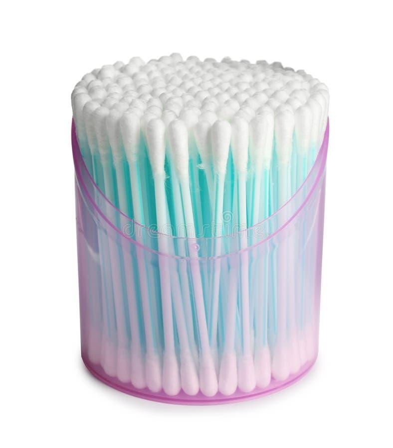 有棉花棒的塑胶容器在白色 库存照片
