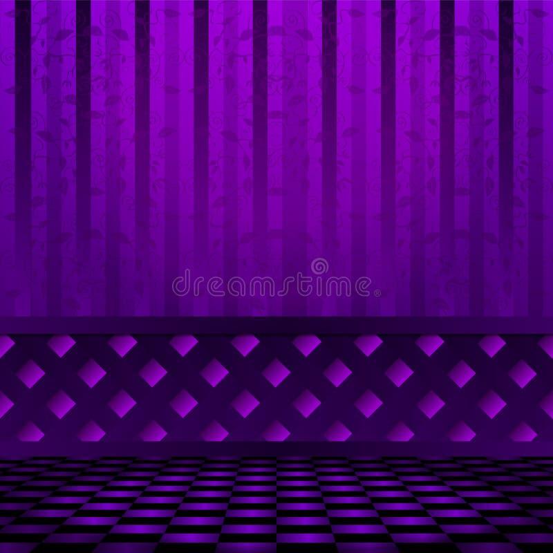 有棋地板的空的紫罗兰色室 向量, EPS 10 向量例证