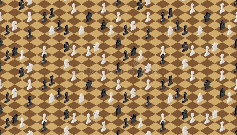 有棋的古典棋枰计算,无缝的样式 向量例证