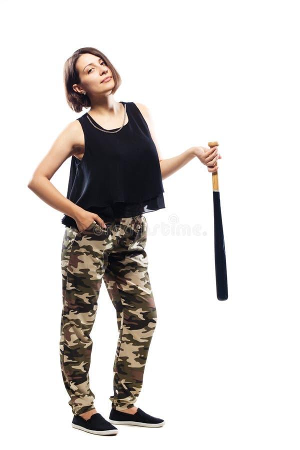 有棒球棒的女孩 库存图片