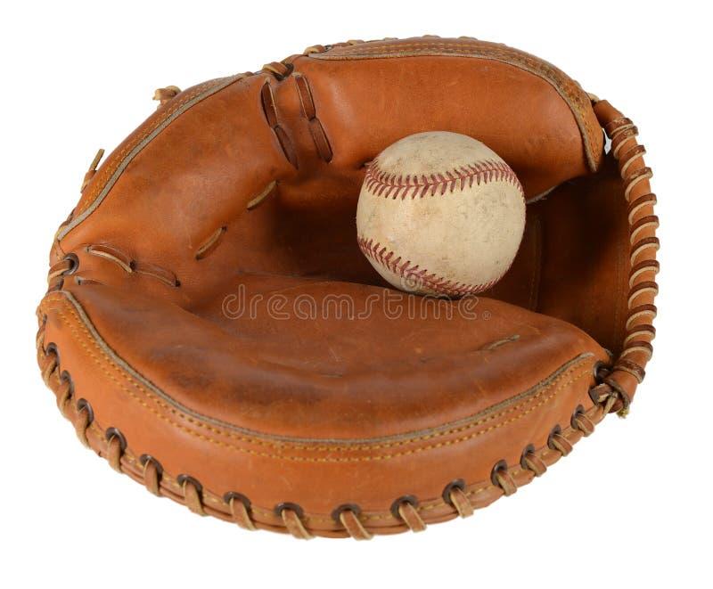 有棒球的俘获器的露指手套 免版税图库摄影
